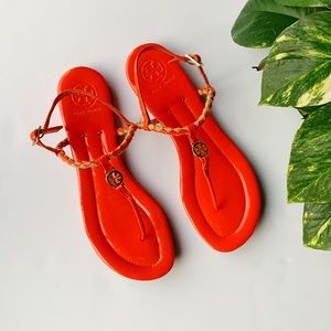 Tory Burch | Orange Aine Patent Leather Sandals 9
